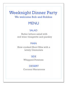 Weeknight Dinner Party Menu including short ribs with gremolata, butter lettuce salad, whipped potatoes and coconut macaroons